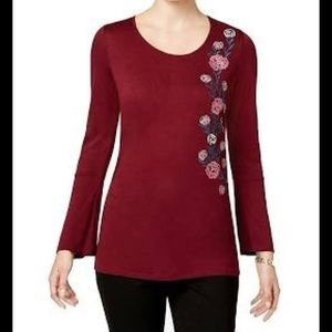 NY Collection Bell-Sleeve Embroidered Top Wine